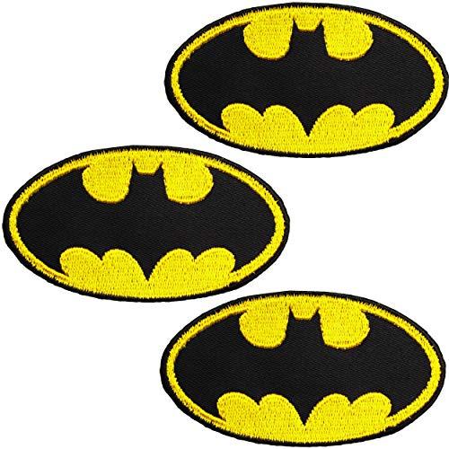 alles-meine.de GmbH 3 Stück _ Bügelbilder / Applikationen / Aufbügler - Batman - Logo Fledermaus - 8,0 cm * 4,5 cm - Aufnäher / gewebte Flicken - zum Aufbügeln Aufkleben Aufnähen..