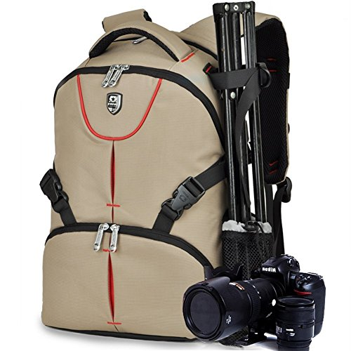 BAIGIO Zaino Multifunzianle per Fotocamera SLR Accessori Backpack Porta 17'' Laptop da Uomo e Donna Stile Business e Leisure, Cachi