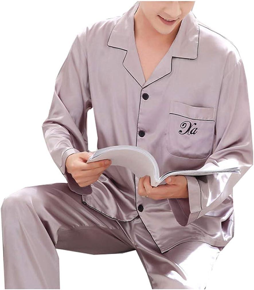 Seaoeey Men Silk Pajama Set Long Sleeve Loungewear Sleepwear Pyjamas