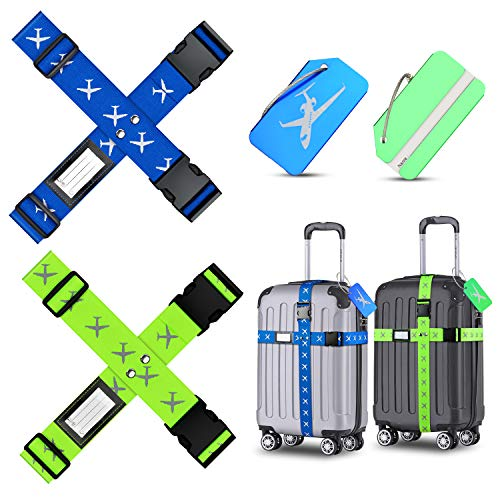 Koffergurt Kofferanhänger, Habett 4 Stück Kofferband Einstellbare Gepäckgurt + 2 Stück Kofferanhänger, Travel Accessories Gepäckband zum Sicheren Verschließen der Koffers und Kennzeichnen von Gepäck