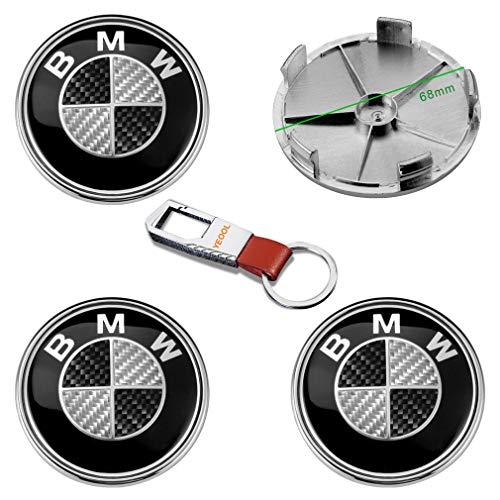 YEOOL 4 Stück 68mm Logo Emblem Schwarzer Carbon Radnabenkappen Radnabenabdeckungen Radkappen Ersatz Felgenabdeckung für B MW Serie 1 2 3 4 5 6 7 M Z X