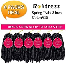 Spring Twist Crochet Braids Real Kanekalon hair 6 Pcs In packs Bomb Twist Crochet Hair Ombre Colors Synthetic Fluffy Hair Extension 8 inch (8inches, 1B#)