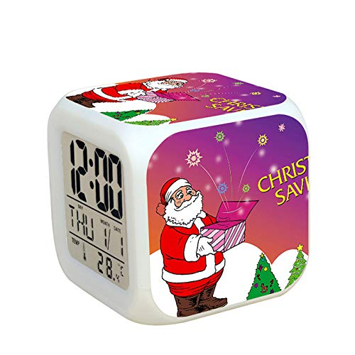 N/J Creative Gift Decorations Christmas Decorations Santa Claus Colorful Color Changing Alarm Clock, 35