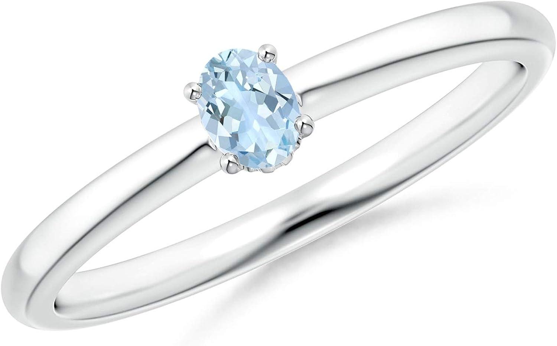 Classic Solitaire Oval Aquamarine Promise Ring (4x3mm Aquamarine)