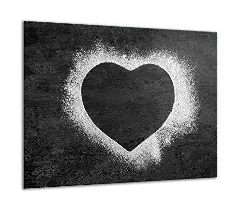 TMK | Herdabdeckplatte 60x52 Einteilig Glas Elektroherd Induktion Herdschutz Spritzschutz Glasplatte Deko Schneidebrett grau Herz