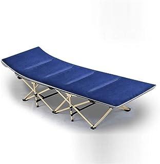 Lit Pliant Lit de Camping Portable Double Couche de Tissu épaississant Tubes côté Poche Soleil Chaise Longue Polyvalent Ma...