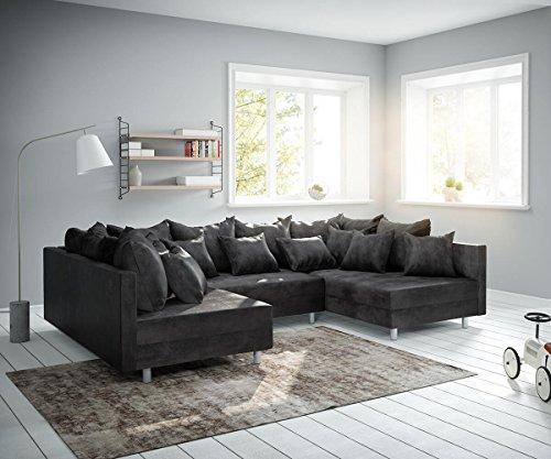 DELIFE Couch Clovis Anthrazit Antik Optik Wohnlandschaft modulares Sofa
