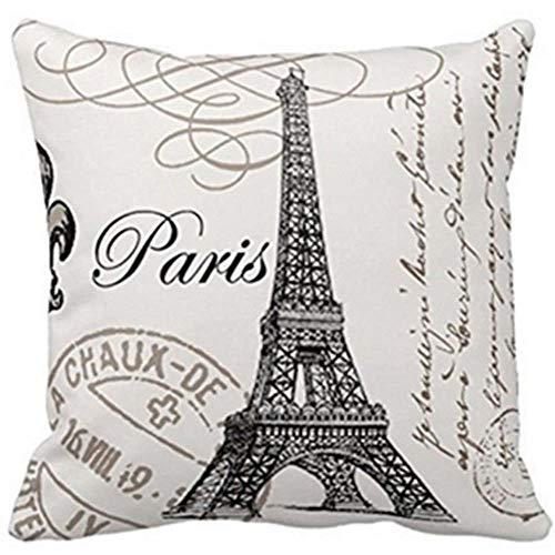 2pcs LCZMQRCLMZRQ Mode retro woondecoratie Eiffeltoren linnen katoen sierkussen kussensloop, Zwart, 450 * 450mm