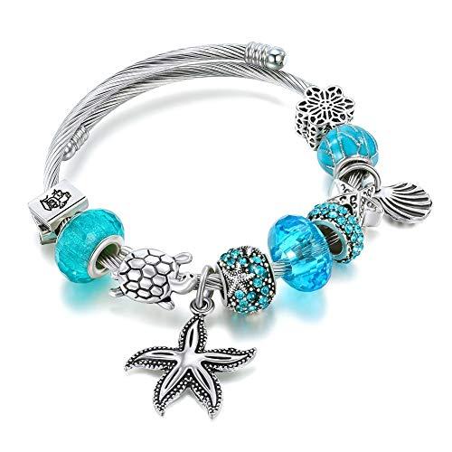 Delicate girl-shouzhuo Kristall Armbänder Armreifen Silber Seestern Muschel Armbänder Mit Steinen Für Frauen Femme Blue DIY Schmuck