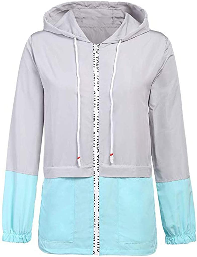 Sport Max 50% OFF Coats for Women Long Sleeve Hooded Thin Patchwork C Our shop most popular Zipper