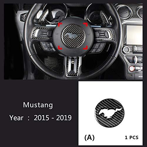 QOHFLD Auto Kohlefaser Dekoration Für Ford Mustang 2015-2019, dekorative Auto-Styling-Abdeckung Trim Auto-Zubehör Carbon Faser Lenkrad Emblem 3D Auto Aufkleber