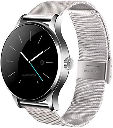 hwbq Reloj inteligente deportivo SMS Push y llamada Bluetooth con esfera redonda-plata