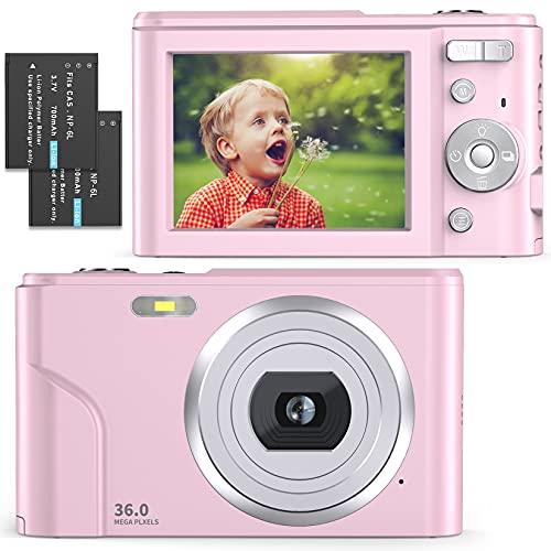 Fotocamera Digitale Compatta 1080P Full HD FamBrow Macchina Fotografica 36 MP Fotocamera Vlogging con Zoom Digitale 16X, 2.4  LCD Mini Video Fotocamer per Bambini, Adulti, Principianti (Rosa)…