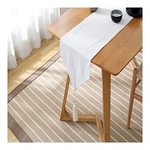 Gu3Je Home Plain Plaid Japanische Quaste Baumwolle Double-Layer-Läufer Home (Color : White, Size : 33x160cm)