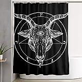 Bathroom Shower Curtain,Pentagram with Demon Baphomet Satanic Goat Durable Waterproof Shower Curtains with Hooks for Bathroom Showers and Bathtubs 59