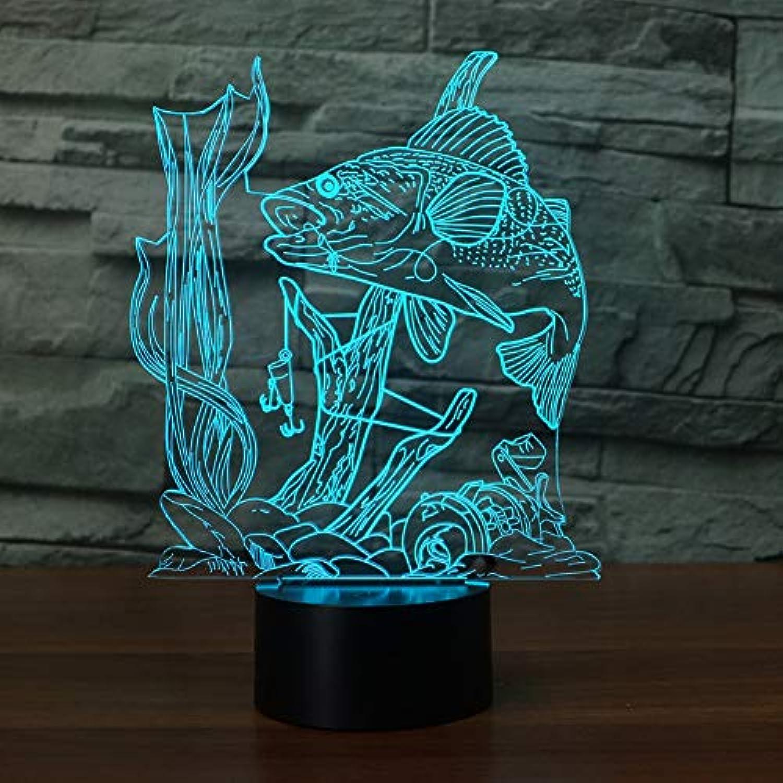 Laofan 7 Farbwechsel Angeln 3D Nachtlicht USB 3D Fisch Tischlampe Kinder Schlafzimmer Geschenk,Fernbedienung