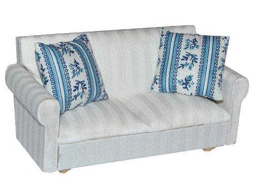 alles-meine.de GmbH Miniatur Sofa / Couch mit 2 Kissen - für Puppenstube Maßstab 1:12 - Puppenhaus - Puppenhausmöbel Sessel Wohnzimmer Klein