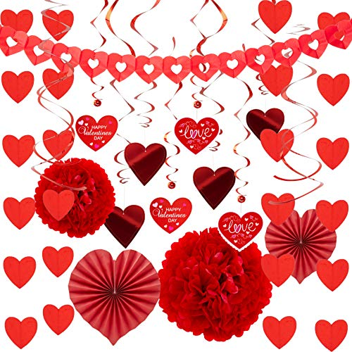 Read About JOYIN Valentines Day Decoration Kit with 1 Heart Shaped Garland, 2 Tissue Fans, 2 Tissue ...