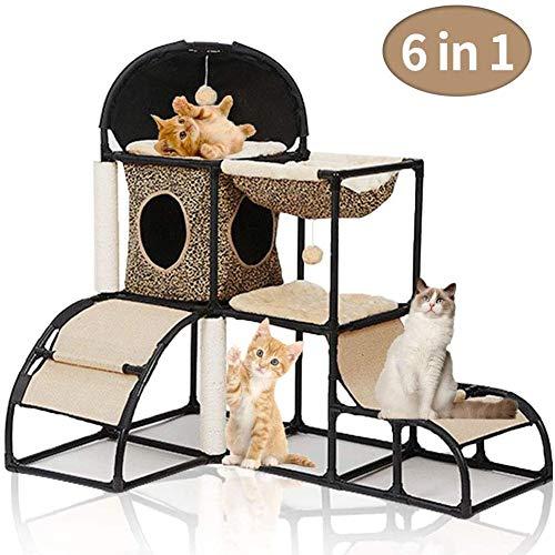 GRJKZYAM Kratzbaum Katze Kletterturm für Kätzchen mit Kratzbaum Katzenturm Aktivitätscenter mit Hängematte,Braun