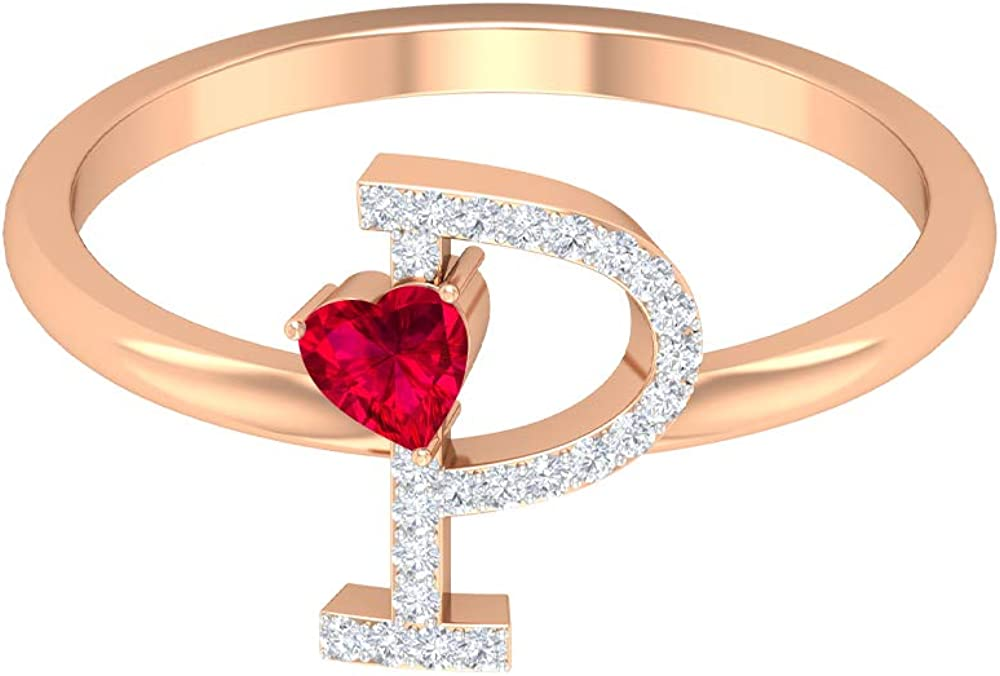 Ruby and Diamond Ring 0.39 CT, Letter P Ring, Gold Personalized Ring (3.5 MM Heart Shaped Ruby), 14K Rose Gold, Size:US 5.5