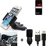 K-S-Trade Top Set pour Huawei Mate RS Porsche Design Porte-Voiture Titulaire Smartphone Fente CD Holder Support Radio Noir +...
