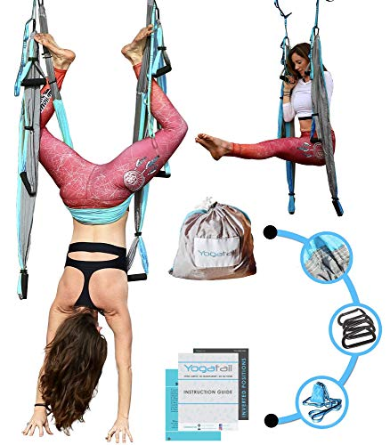 Aerial Yoga Swing - [UPDATED 4th EDITION] Gym Strength Antigravity Yoga Hammock - Inversion Trapeze Sling Equipment with Two Extender Hanging Straps - Blue Grey Swings & Beginner Instructions Guide