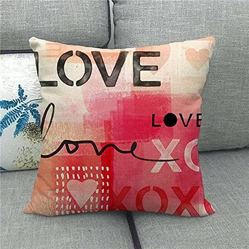 Dafang Red Love Mood Love día de San Valentín Funda de Almohada de Abrazo de Lino Almohada Funda de Almohada de Abrazo s Suministro 1498-18_45 * 45cm