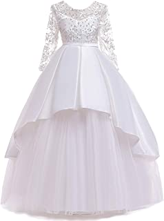 MYRISAM Little Big Girls Applique Lace Princess Pageant Dresses Long Sleeve Bridesmaid Wedding Party Birthday Long Gown