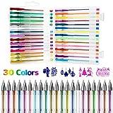 Bolígrafos de Gel, Gifort 30 Colores Set De 30 Bolis De Tinta De Gel De Colores - Brillo, Neón, Pastel, Metálico con 4 plantillas de pintura Regalos para Niñas