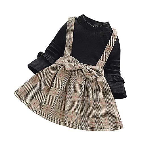 WANGYUEGUANG Robe de Princesse pour Enfant en Bas âge Nourrisson bébé Filles vêtements Mode Manches Longues Doux Plaid Treillis Princesse Robe