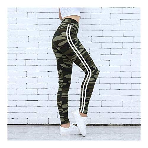 Leggings de camuflaje for mujer Dos rayas blancas de lado Leggings ajustados Cintura elástica Mujeres Leggings de entrenamiento elásticos Leggings casuales Fitness ( Color : Camo Green , Size : L )