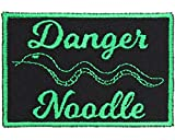 Snake = Danger Noodle Patch Iron On Applique - Green, Black - 3' x 2' Rectangle - Made in The USA