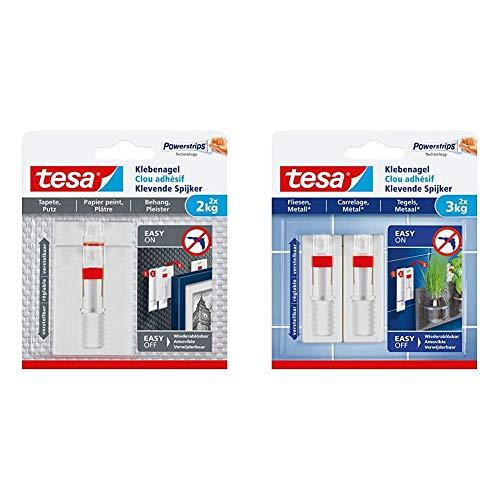 tesa 77777-00000-00 Tapete & Putz bis 2kg Verstellbarer Klebenagel für Tapeten und Putz/2 x 2 kg Halteleistung, Weiß, 2 kg, 2 Stück & Klebenagel für Fliesen und Metall, verstellbar, 3 kg