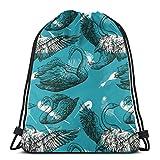 Yuanmeiju Kids Benched Bag,Sport Casual Daypack,Men Women Bolsa de Gimnasio,School Mochila con cordón,Floral Deer Antlers 3D Print String Bag Sackpack Cinch Tote Bags