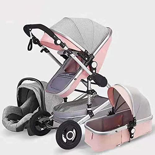 Cochecito de bebé liviano portátil Portátil Cochecito de cochecito de carruaje, arnés y alta cesta de almacenamiento, carruaje infantil Cochecito portátil de bebé 3 en 1 cochecito de cochecito de bebé