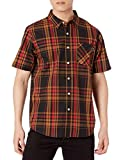LRG Men's Lifted Research Group Short Sleeve Woven Button Up Shirt, Black/Red, 2XL