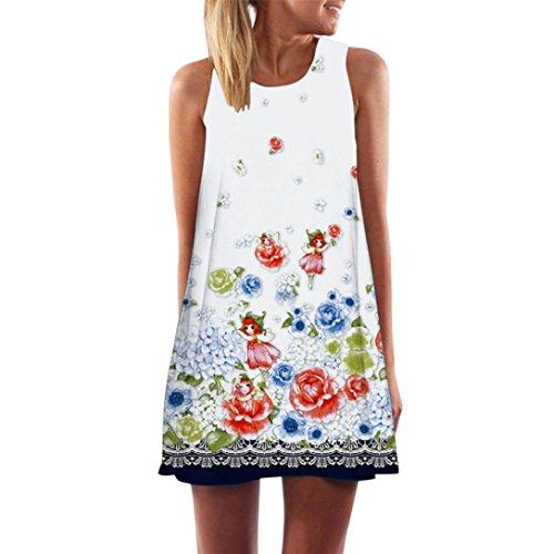 URSING Vintage Boho Kleid Frauen Sommerkleid Ärmellos Strandkleid Blumen Gedruckt Kurzes Minikleid Reizvoller Damen Kleider Partykleid Sommer Trägerkleid Shirt Bluse Oberteile (M, K)