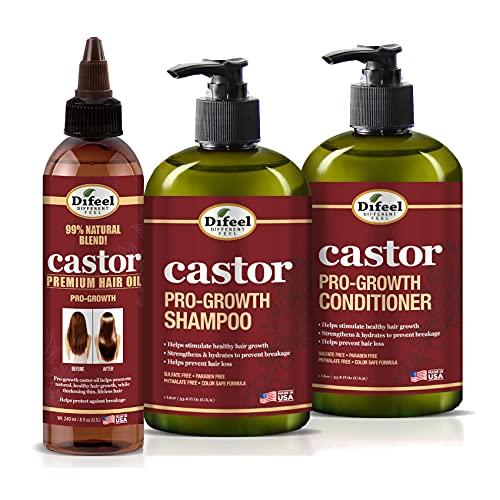 Difeel Pro-Growth with Castor Oil 3-PC Hair Care Set - Shampoo 12oz, Conditioner 12oz, & Hair Oil 8oz
