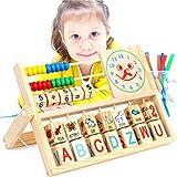 Juguete de ábaco de Madera Abacus versátil Abacus Cara Sonriente Reloj de...