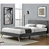 ArtLife Polsterbett Toledo 140 × 200 cm dunkelgrau | Bettrahmen mit Kaltschaummatratze, Lattenrost & Stoff | Jugendbett Gästebett Bett - 4