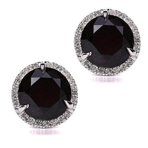 Schwarze und weiße Diamant-Ohrringe 6 2/5 Karat (ct) in 14 Karat Weißgold