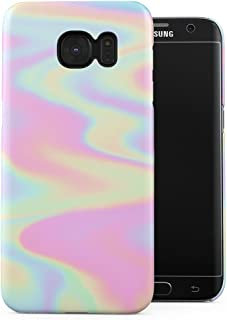 Holographic Print Tie Dye Rainbow Colorful Pastel Rad Indie Boho Tumblr Plastic Phone Snap On Back Case Cover Shell Compatible with Samsung Galaxy S7 Edge