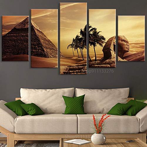 yuanjun Puzzle 5 TLG Kunstdruck Modern Wandbilder Design Tapete Eingerahmt Bilder Drucke Leinwand Wandkunst Wohnkultur Gem?Lde Poster Mehrteilig XXL Ägypten Berühmte Pyramide Und Sphinx