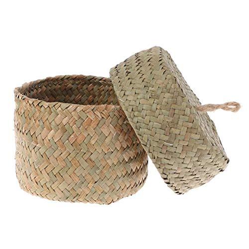 Fatto a mano di paglia di stoccaggio cesto intrecciato cestino di vimini del rattan Fiore contenitore di immagazzinaggio per la decorazione del giardino Wedding Natural Color