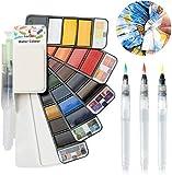 Fuumuui Kit de Acuarela Pintura Acuarela de Arte 25 Colores 3 Pincel de Acuarela Pintura de Acuarela Adecuada para Principiantes y Profesionales