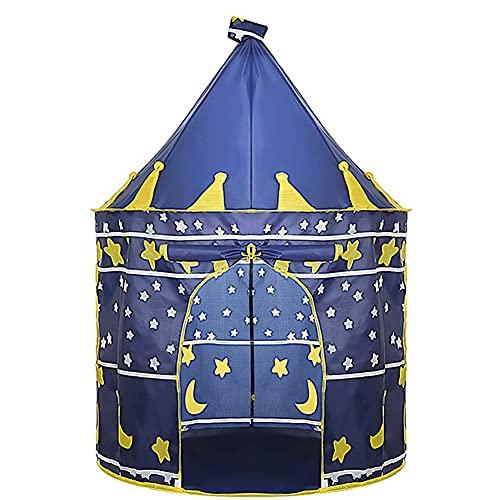 Nifogo Kinderzelt Spielzelt Junge Castle Pop up Zelt kinderzimmer, Faltbares Indoor Spielhaus Zelt für Dinnen und Draußen mit Tragetasche (Blau)