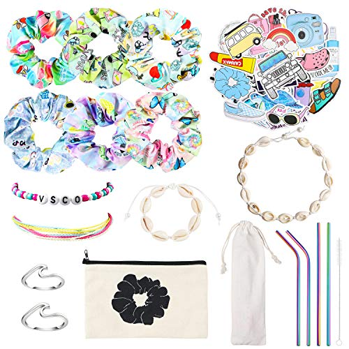 PANTIDE 69Pcs VSCO Starter Stuff Pack for Girls-VSCO Hair Scrunchies, Flask Stickers, Shell Choker Necklace Bracelet, Adjustable Wave Beads Bracelets, Stainless Steel Straws, Wave Rings, Cosmetic Bag