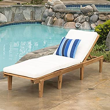 Great Deal Furniture Paolo Outdoor Wood Chaise Lounge with Cushion