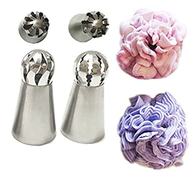 New Ball Russian Stainless Steel Tips Tulip Sphere Whip Cream Buttercream Icing Piping Nozzles DIY Baking Tools Small Torch for Decoration Cupcake Fondant Cake or any Pastry