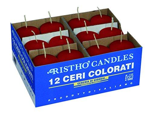 candele profumate rosse Cereria di Giorgio Candele diametro 4 cm altezza 7 - Rosso - Confezione da 12 pezzi